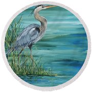 Great Blue Heron  2 Round Beach Towel