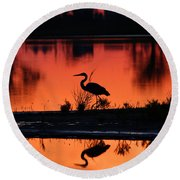 Great Blue Heron At Sunrise Round Beach Towel by Allan Levin