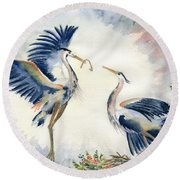 Great Blue Heron Couple Round Beach Towel by Melly Terpening