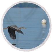 Great Blue Heron  Round Beach Towel by DejaVu Designs