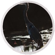 Great Blue Heron Round Beach Towel