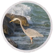Round Beach Towel featuring the photograph Great Blue Heron On The Prey by Christiane Schulze Art And Photography