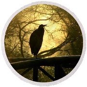 Great Blue Heron Silhouette Round Beach Towel
