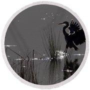 Great Blue Heron Silhouette Round Beach Towel