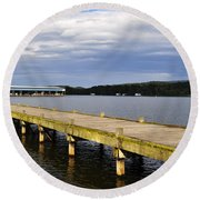 Great Blue Heron Sunning On The Dock Round Beach Towel