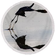Great Blue Heron Takeoff Round Beach Towel