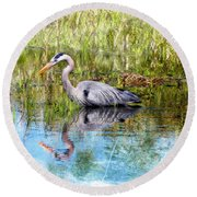 Great Blue Hunter Round Beach Towel