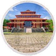 Great Buddha Hall Round Beach Towel