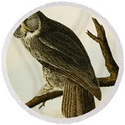 Great Cinereous Owl Round Beach Towel