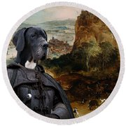 Great Dane Art - The Boar Hunt Round Beach Towel