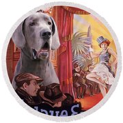 Great Dane Art Canvas Print - Der Blaue Engel Movie Poster Round Beach Towel