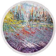 Great Day In Chicago - Sold Round Beach Towel by George Riney