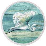 Great Egret I Round Beach Towel