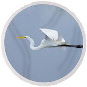 Great Egret In Flight Round Beach Towel by John M Bailey