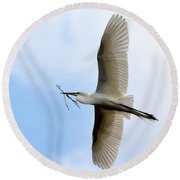 Great Egret In Flight Round Beach Towel by Richard Bryce and Family