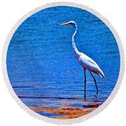Great Egret Round Beach Towel