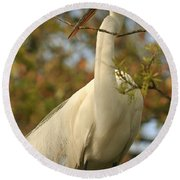 Great Egret Impressions Round Beach Towel