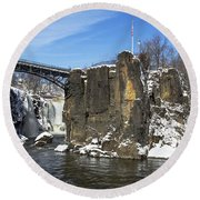 Great Falls In Color Round Beach Towel