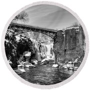 Great Falls In The Winter Round Beach Towel