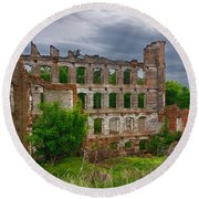 Great Falls Mill Ruins Round Beach Towel
