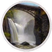 Great Falls Mist Round Beach Towel