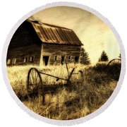 Great Grandfather's Barn II Round Beach Towel