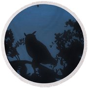 Round Beach Towel featuring the drawing Owl At Night by D Hackett