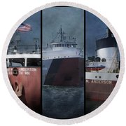 Great Lakes Freighter Triptych Arthur M Anderson Round Beach Towel