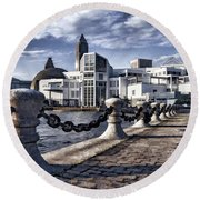 Round Beach Towel featuring the photograph Great Lakes Science Center - Cleveland Ohio - 1 by Mark Madere