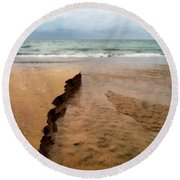 Great Lakes Shoreline Round Beach Towel by Michelle Calkins