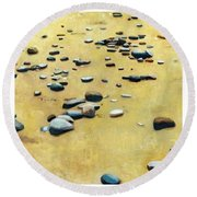 Great Lakes Triptych 2 Round Beach Towel