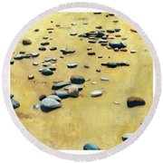 Great Lakes Triptych Round Beach Towel by Michelle Calkins