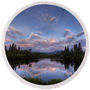 Great North Woods Sunset In New Hampshire Round Beach Towel