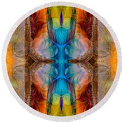 Great Spirit Middle Panel Abstract Designs By Omaste Witkowski Round Beach Towel