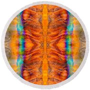 Great Spirit Side Panel Abstract Designs By Omaste Witkowski  Round Beach Towel