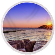 Round Beach Towel featuring the photograph Saints Landing Cape Cod by Mike Ste Marie