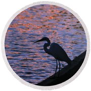 Great White Egret Silhouette  Round Beach Towel