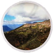 Greece Countryside Round Beach Towel by Eric Liller