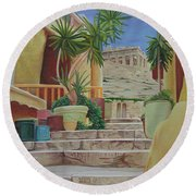 Round Beach Towel featuring the painting Greece by Joshua Morton