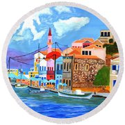 Round Beach Towel featuring the painting Greek Coast by Magdalena Frohnsdorff
