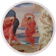 Greek Girls Picking Up Pebbles By The Sea Round Beach Towel