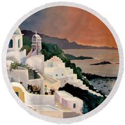 Greek Isles Round Beach Towel by Marilyn Smith