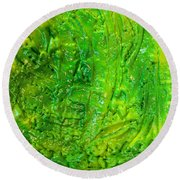 Green Abstract Painting  Round Beach Towel