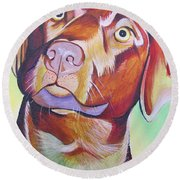 Round Beach Towel featuring the painting Green And Brown Dog by Joshua Morton