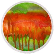 Green And Orange Abstract Round Beach Towel