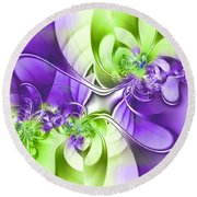 Green And Purple Round Beach Towel by Lena Auxier