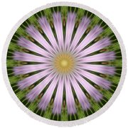 Green And Purple Starburst Round Beach Towel