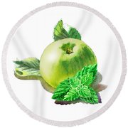 Round Beach Towel featuring the painting Green Apple And Mint Happy Union by Irina Sztukowski