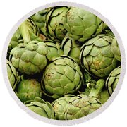 Green Artichokes Round Beach Towel