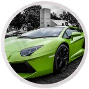 Round Beach Towel featuring the photograph Green Aventador by Matt Malloy